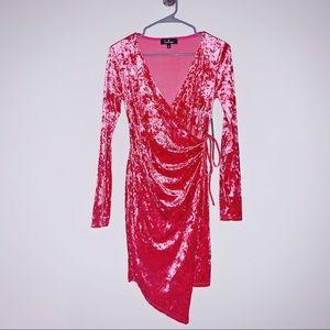 Velvet Asymmetrical Wrap Dress